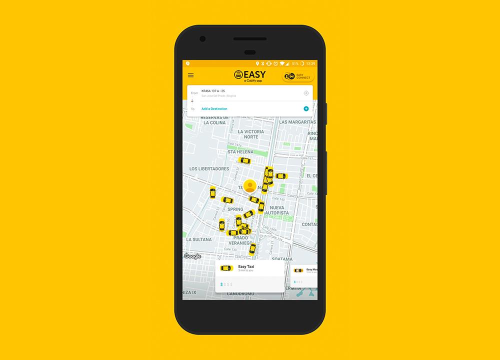 Aplicación para transportarse en taxi en Bogotá