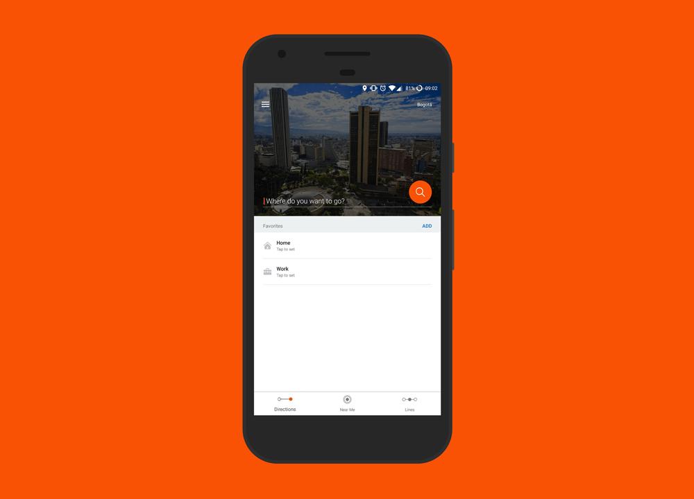 Aplicación para transportarse en Bogotá en transporte público