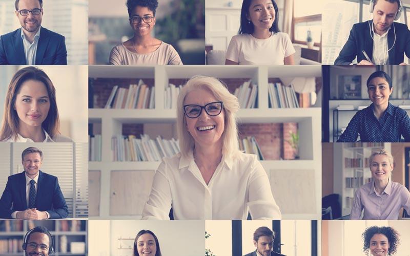 Colaboradores en una videollamada