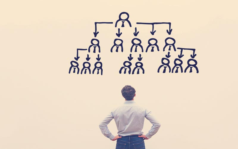 Hombre analizando la organización de su empresa
