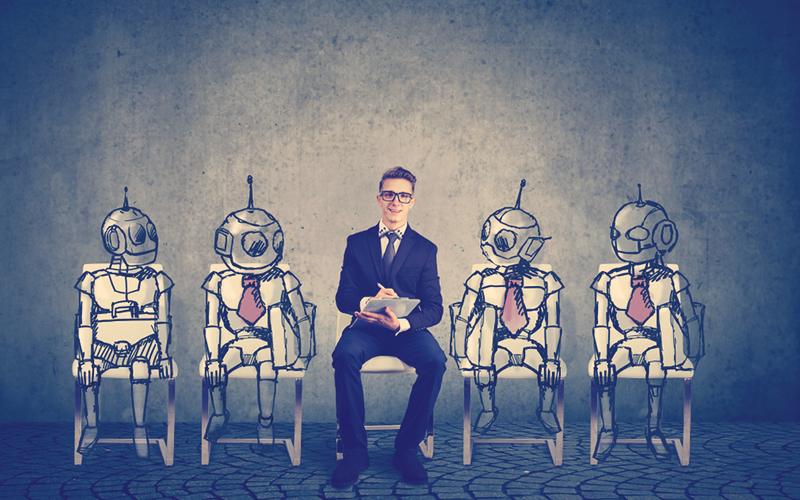 Trabajar del futuro sentado al lado de robots