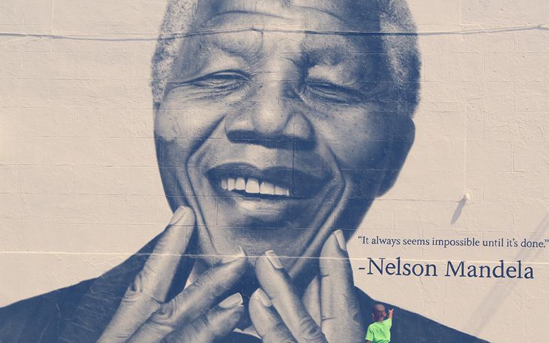 Mural de Nelson Mandela en Brooklyn