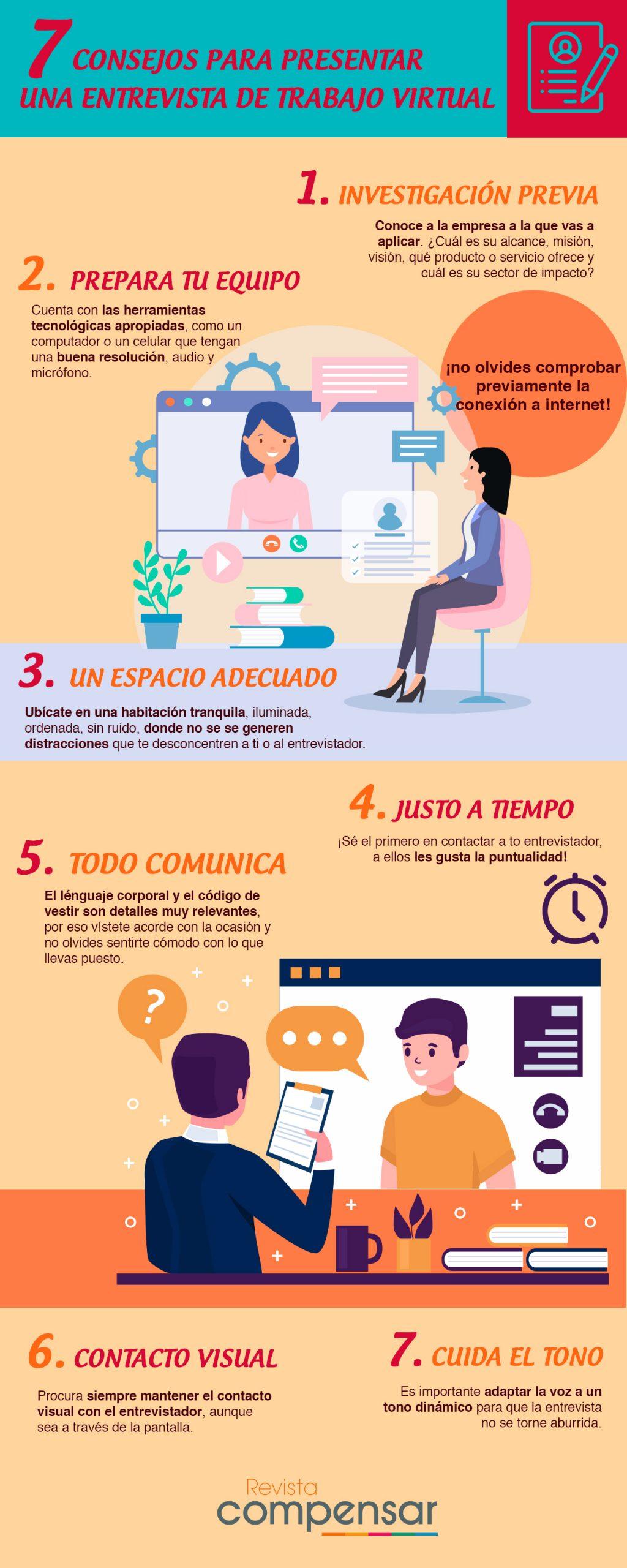 Consejos para presentar una entrevista de trabajo virtual