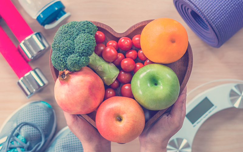 Frutas en formas de corazón