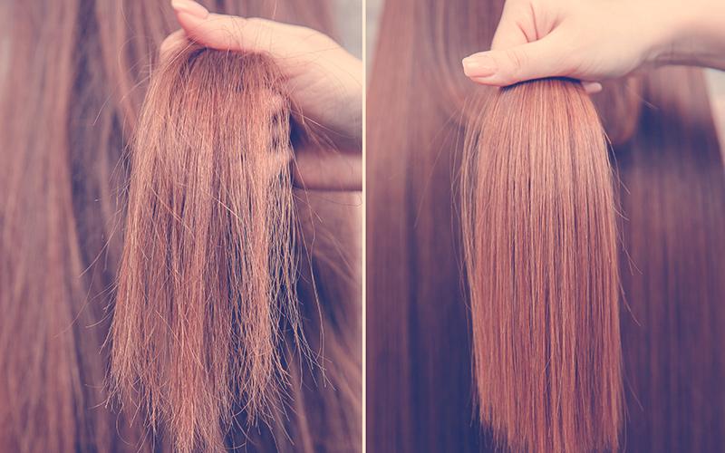 Queratina para el cabello enferma, cortada y saludable. Antes y después del tratamiento.